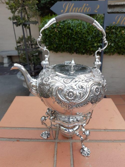 A Victorian silver plate tea kettle on stand with burner - ND