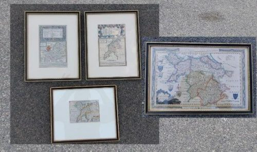 A Set Of Four (4)  Antique Maps Of Wales