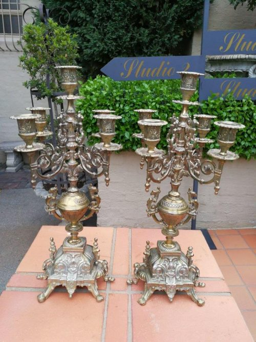 Pair Of French Style Brass Five-Arm Candelabrum