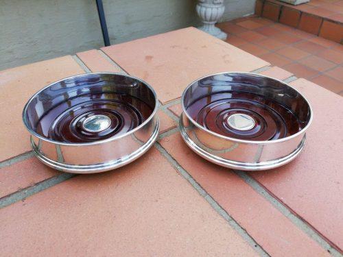 A Pair Of Elizabeth II Silver Wine Coasters