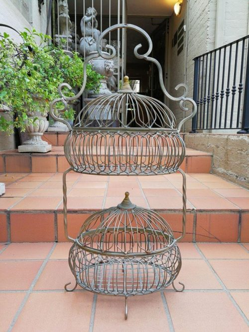 Wrought Iron Double Tier Basket