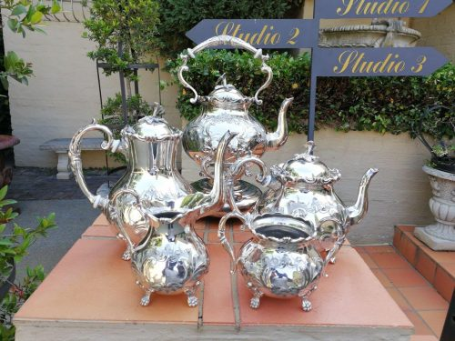 John Turton Silver 5 Piece Tea Set. Silver Plated With Hand Chased Loral Design. E. P. B. M Made In Sheffield Includes Kettle On Stand