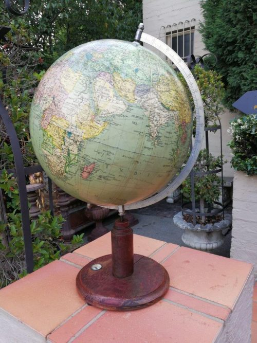 Table Globe With Mahogany Stand And Compass
