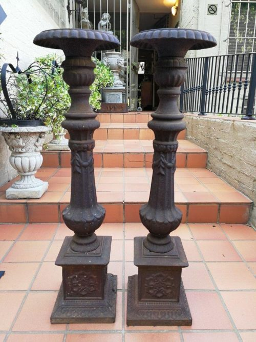 Pair Of Large Antique Cast Iron Candleholders - Nd