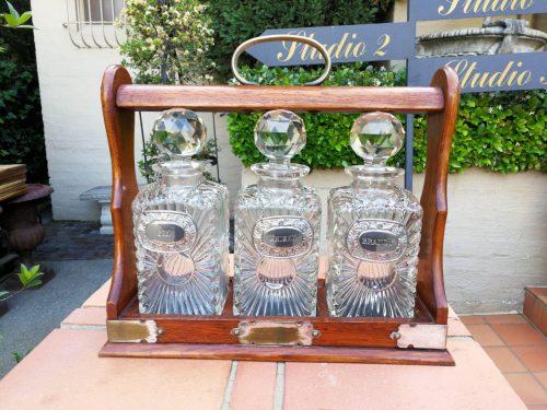 Victorian Oak Cased Tantalus Decanter Set