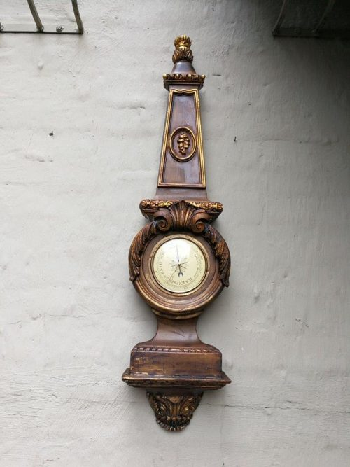 Massive Carved Heavy Giltwood Barometer. 1200cmh Made In Western Germany From An Estate Sale In The Usa