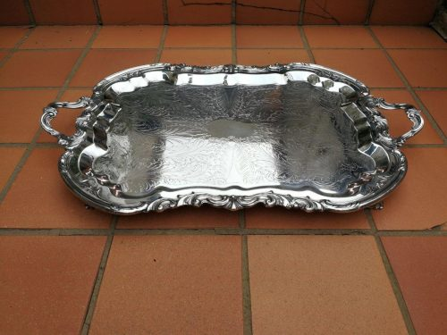 Silver- Plate Tray On Feet By B. F. Rogers