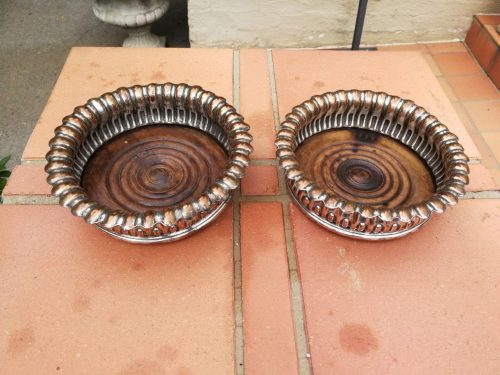 Pair Of Old Sheffield Silver Plate And Mahogany Wine Coasters