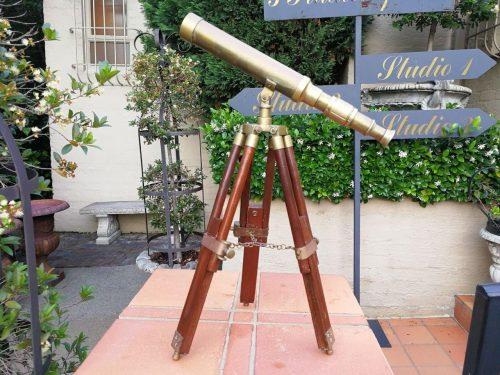 Brass Telescope On Wooden Tripod Base