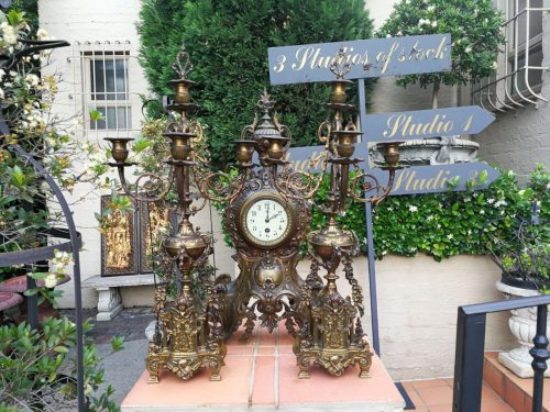 A French Clock And Pair Of Cancelabras Set