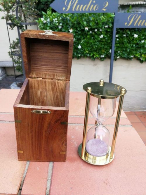 A Cased Brass Hour Glass