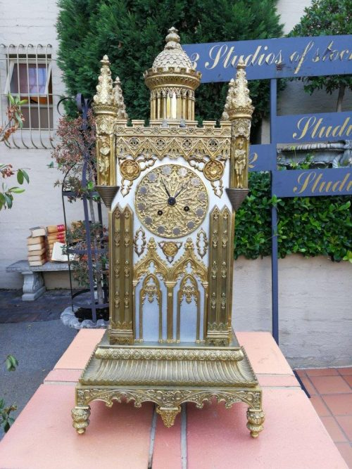 A Mid-19th Century French Gilt-Bronze Gothic Architectural Cathedral Clock