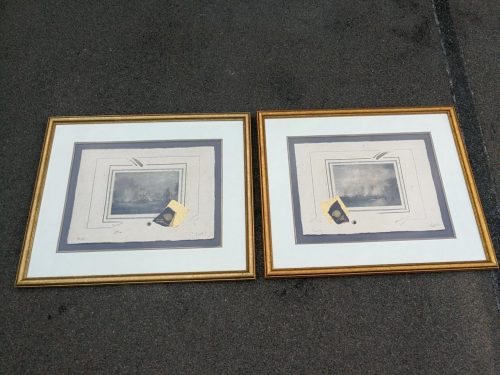 A Pair Of Signed Oil And Water Colour Prints Of Battle Ships