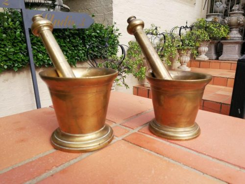 A Pair Of Very Heavy Brass Pharmacy Mortor And Pestles