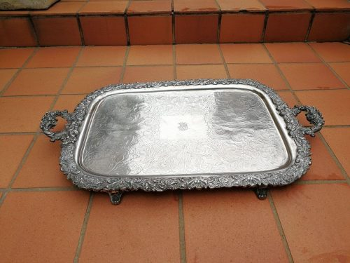 Exteremly Large Sized Engraved Silver Plated Tray