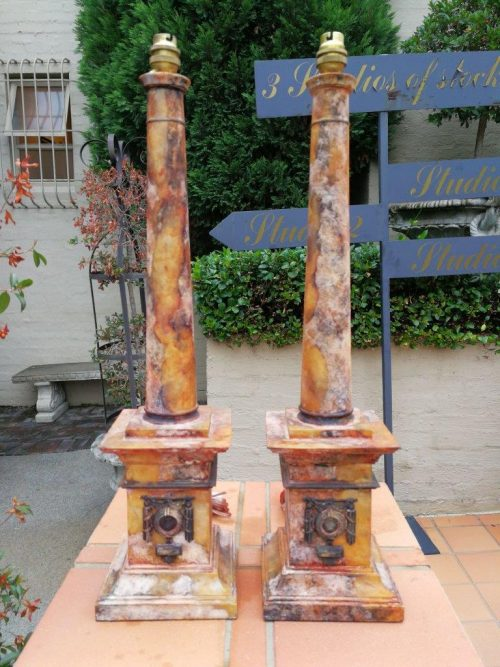 A Pair Of Limestone Lamp Bases