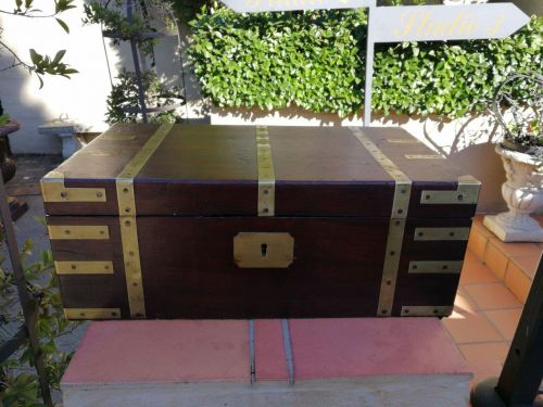 Brass bound mahogany campaign writing slope with original inkwell