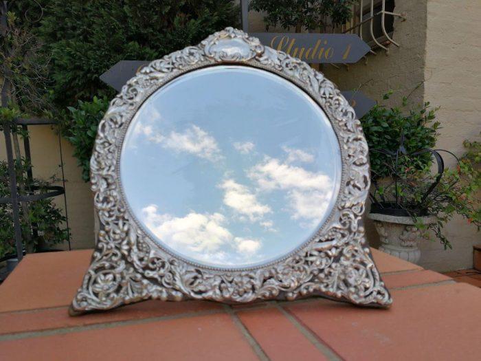 A Circa 1901 Victorian Silver Framed Mirror