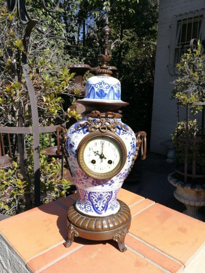 Dutch Delft Blue And White Porcelain And Patinated Brass Mantel Clock With Key