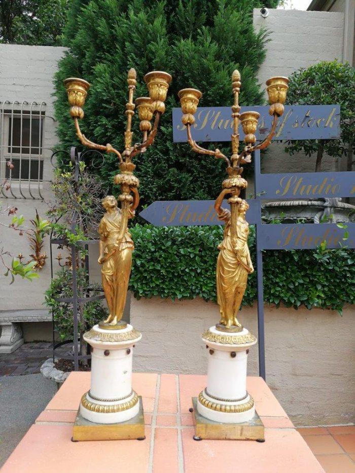 19th Century pair of French ormolu bronze candelabras