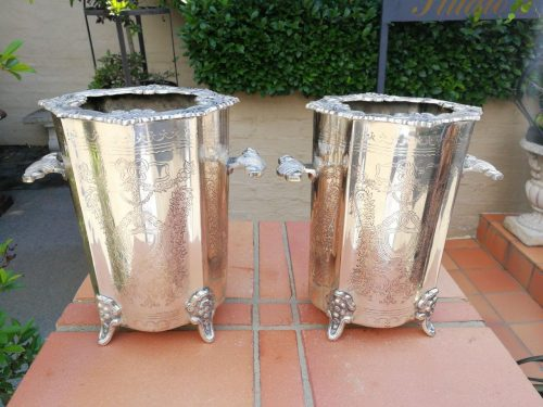 Large sized pair of silver-plated wine coolers