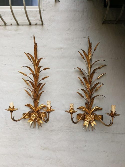 A pair of gold gilt wheat candle wall sconces