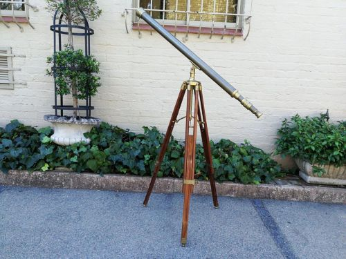 20th Century Brass Telescope On A Wooden Tripod Stand
