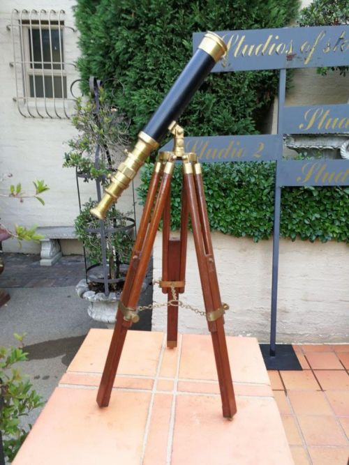 Antique Ross Of London Telescope On Brass And Wood Tripod