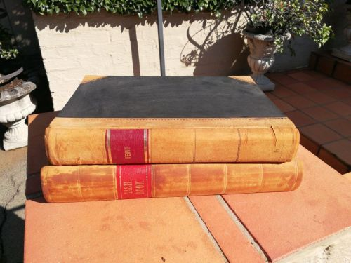 Two antique extremely rare and in very good condition large size decorative accounting books unused