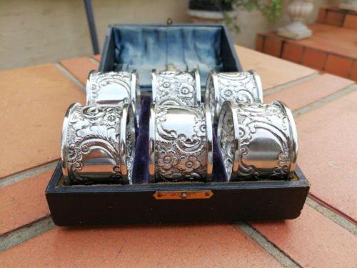A Set Of Six Silver Plate Napkin/Serviette Rings In Presentation Box