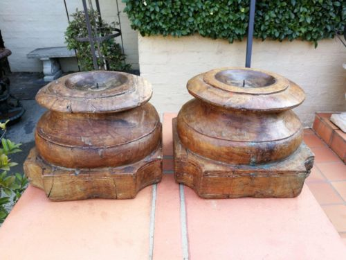 Carved Wooden Round Top Candle holders or styling bases (SOLD INDIVIDUALLY)