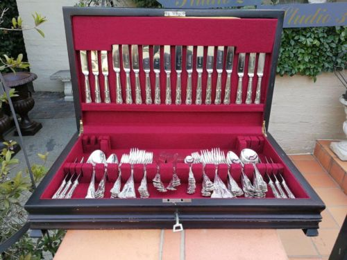 King's Pattern Twelve Place Sheffield A1 Silver Plate Canteen Of Cutlery In Canteen