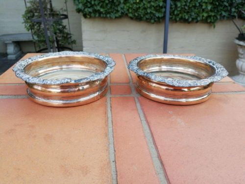 A Pair Of Late 19th Century Sheffield Silver Plated Wine Coasters