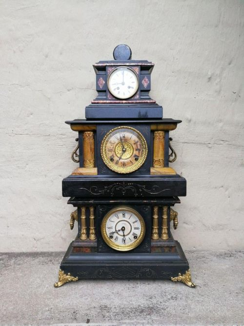 A Set Of 3 Highly Decorative Clocks Comprising Of Two Victorian Clocks And An Empire Style Clock