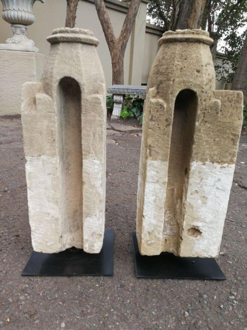A Pair Of Historical West African Architectural Sculptures Hand Carved Sandstone