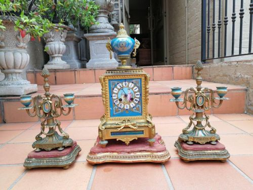 A French Antique Ormolu & Hand Painted Porcelain Garniture Clock Set On Stands