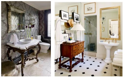 Antique furniture for modern bathrooms