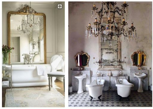 Antique chandeliers for modern bathrooms